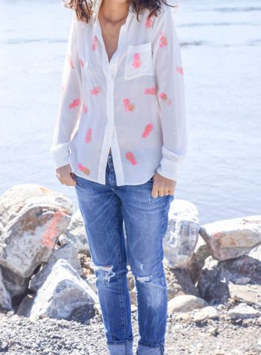 DIY printed shirt with pinapples ? Tutorial in french and english