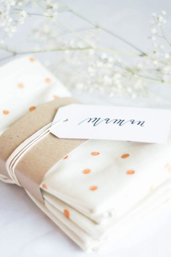 DIY polka dot napkins + giftwrap idea