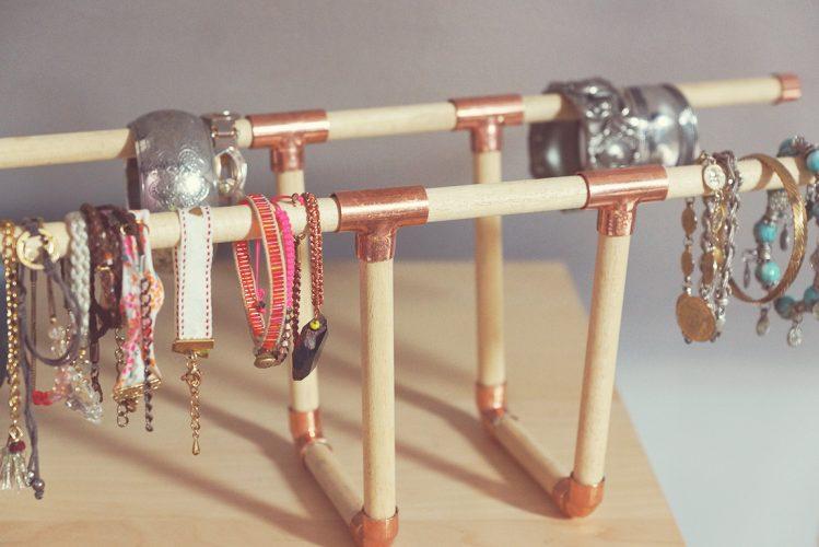DIY copper and wood bracelet holder