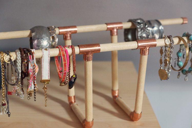DIY Porte bracelets cuivre et bois