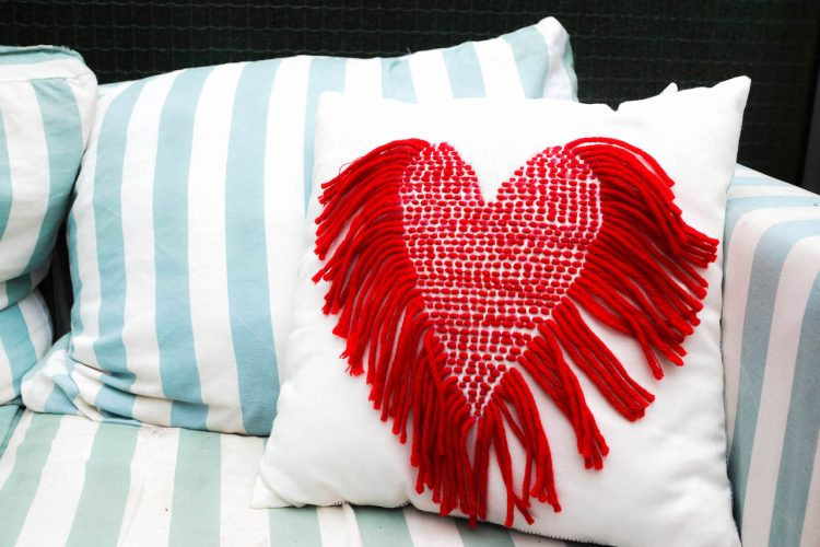DIY stitched heart pillow