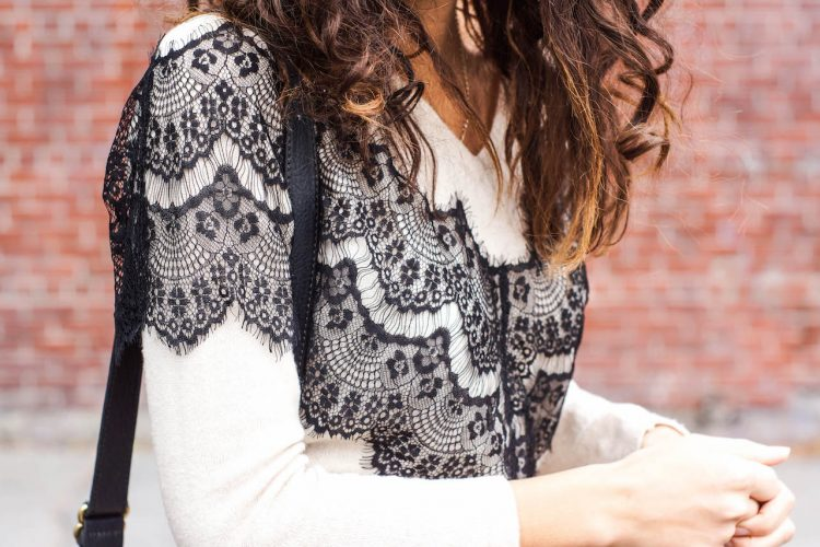 DESIGNER DIY lace-paneled sweater maje inspiration