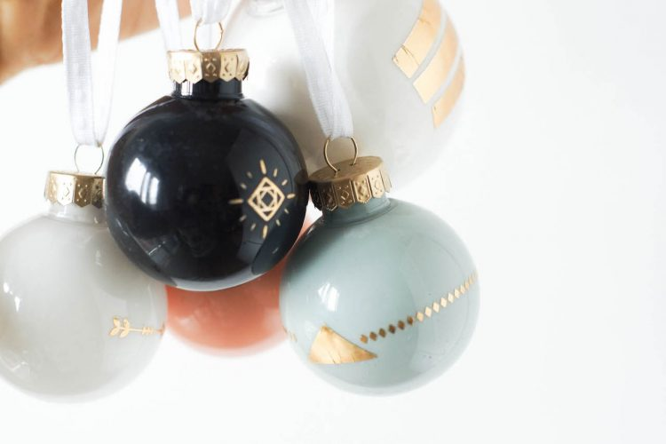DIY tattooed Christmas Ornaments (using temporary tattoos!)