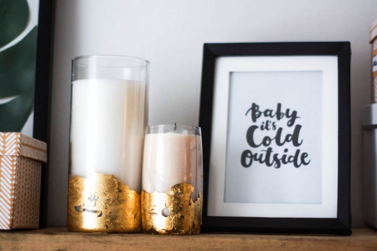 DIY gold foil candles