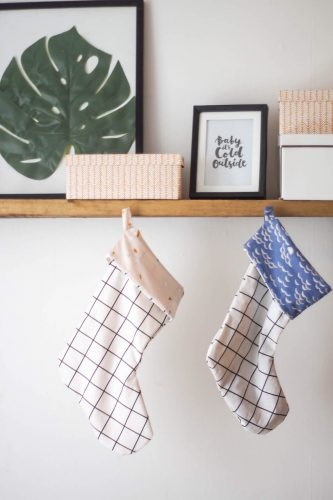 DIY Grid Pattern Christmas Stocking